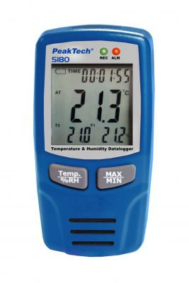 Temperatur- und Luftfeuchtigkeits-Datenlogger -40...+70°C, 0-100% RH, 5180