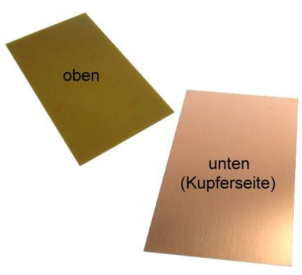Kupferplatte 160x100mm ohne Bohrung Epoxyd Platine