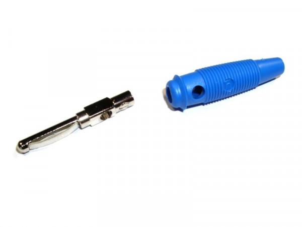 Bananenstecker Vollkontakt blau mit Querloch 4mm, VQ 20