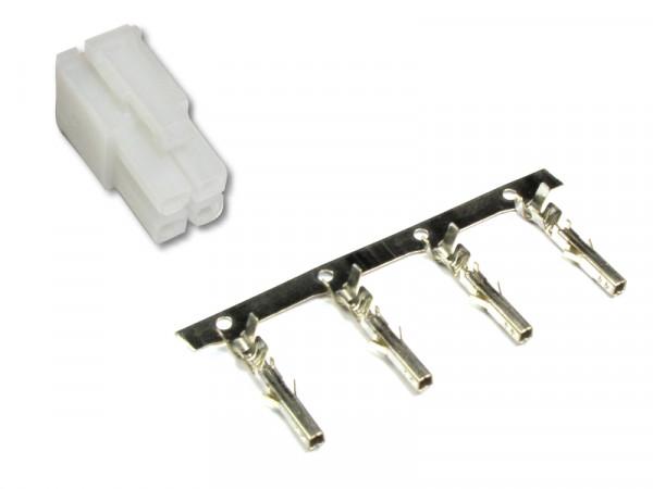 Buchsengehäuse mit Crimpkontakten 2 x 2 polig Rastermaß 4,2 mm auch als P4 Stecker bekannt