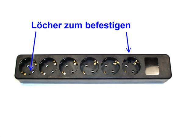 6-fach Steckdosenleiste 45° schwarz ohne Kinderschutz , Typ 678, zum befestigen