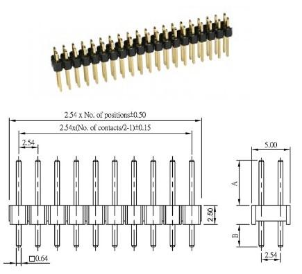 Stiftleiste messing vergoldet 2x20 pol. RM2,54