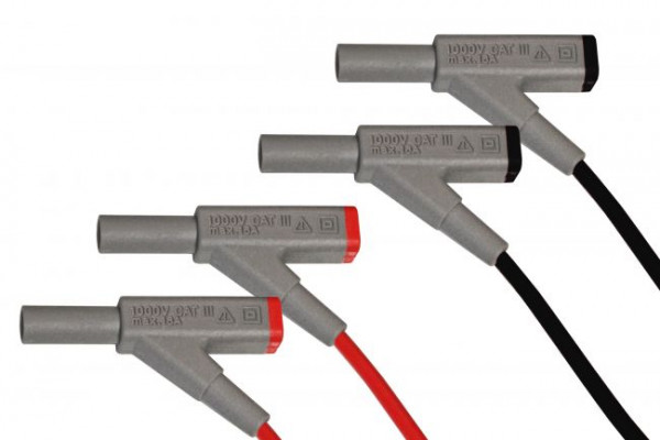 Sicherheits Verbindungsleitung 4mm für Digital-Multimeter mit Kupplung Set rot und sch, 7025