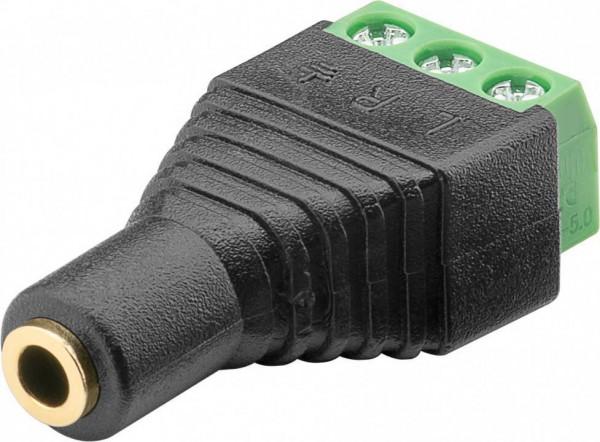 Terminal Block 3-pin auf Klinke 3,5 mm Buchse (3-Pin, stereo)