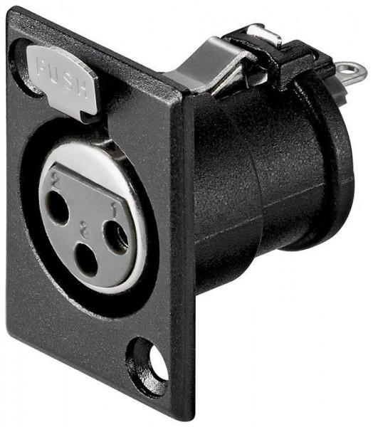 Mikrofon-Einbaubuchse mit Verriegelung 3 Pol. Gehäuse schwarz