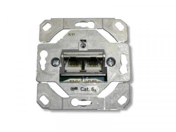 Netzwerkdose Unterputz Einsatz CAT 6a 2 Port bis 1000MHz