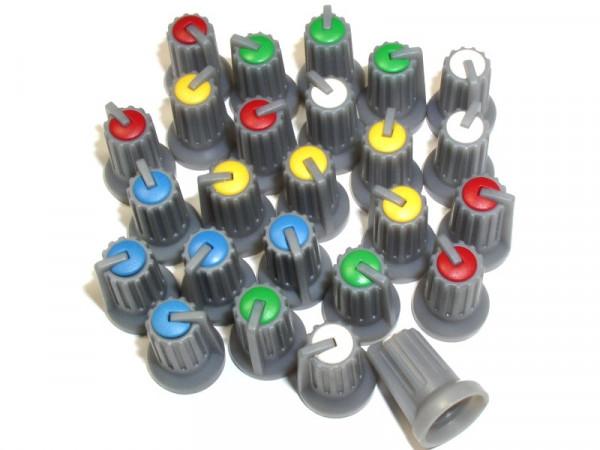 Drehknopfsortiment 25-teilig , Je 5 Stück rot, gelb, blau, grün und weiß