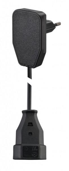 EuroPlug Stecker flach schwarz 250V AC 2,5A inkl. Verlängerung 5 Meter