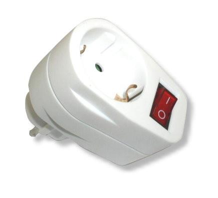 Schutzkontakt Stecker Buchse weiß mit Schalter 250V 16A AC 3500W