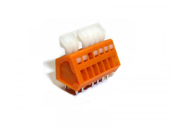 Leiterplattenklemme 233 mit Betätigungsdrücker, 0,5 mm², Rastermaß 2,54 mm 6pol.