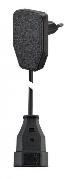 EuroPlug Stecker flach schwarz 250V AC 2,5A inkl. Verlängerung 3,0 Meter