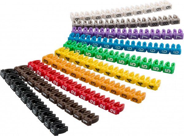 """Kabelmarker-Clips """"Ziffern 0-9"""", für Kabeldurchmesser bis 2,5 mm"""